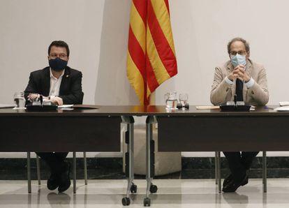 Quim Torra i Pere Aragonès a la reunió setmanal del Govern.