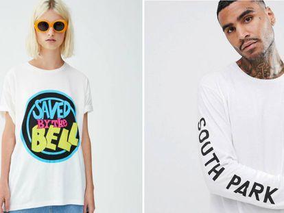 Camiseta de 'Salvados por la campana' de Pull and Bear y de 'South Park', de Asos.