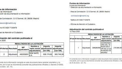 Contratos fantasmaA la izquierda, el contrato con Room Mate subido y borrado del portal de contratación de la Comunidad de Madrid este mismo martes. A la derecha, el contrato real, según el Gobierno regional.