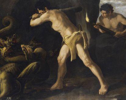 Hércules lucha contra la hidra de Lerna.