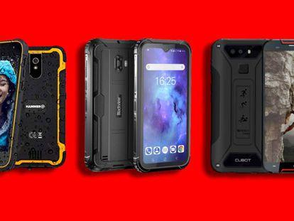 Probamos hasta seis modelos diferentes de móviles todoterreno, como son: el Blackview BV5900, el Crosscall Shark-X3, el Cubot Quest Lite, el Doogee S40 Lite, el myPhone Hammer Active 2 y el Ulefone Armor X5.