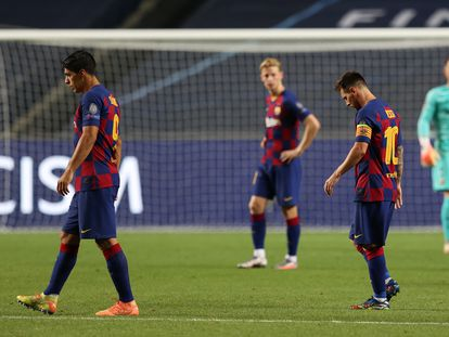 Luis Suárez, De Jong y Messi, en el partido de Champions contra el Bayern.