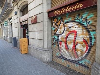 Una cafetería de Barcelona, cerrada, el pasado 15 de enero.