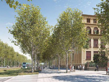 Imagen virtual de cómo quedaría, cortado al tráfico, el cruce entre Diagonal, Aragó y Sardenya.