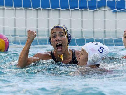 Bea Ortiz celebra un gol en el España-China.
