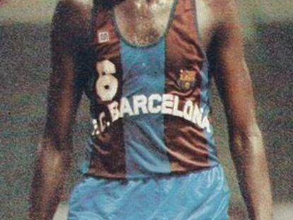 Chicho Sibilio, en un partido con el Barça