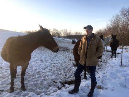 El granjero Matt Russell, este domingo.