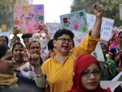 Mulheres indianas manifestam em um protesto pelo Dia Internacional da Mulher, em Nova Deli.
