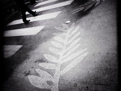 Una palma, símbolo del festival de cine, pintada en la carretera.