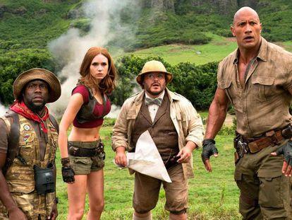 El cuarteto protagonista de 'Jumanji: bienvenidos a la jungla'.