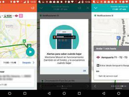 Capturas de pantalla de Moovit.