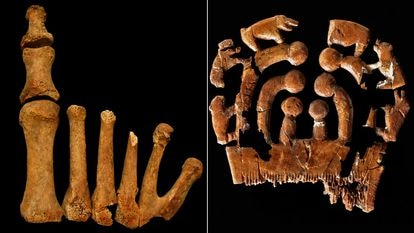 Right foot of the woman with polydactyly whose body was found in the Montelirio dolmen and an ivory comb, both from the main chamber.