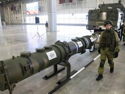 Un misil 9M729, en una base militar rusa cerca de Moscú el 23 de enero de este año.