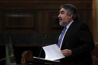 El ministro de Cultura, José Manuel Rodríguez Uribes, en el Congreso el 20 de mayo, cuando anunció las ayudas al sector.