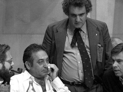 De izquierda a derecha, Javier Solana, Nicolás Redondo, Enrique Múgica y Felipe González, en un congreso del partido socialista en mayo de 1979.