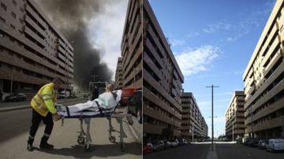 El barrio durante el incendio, y ahora.