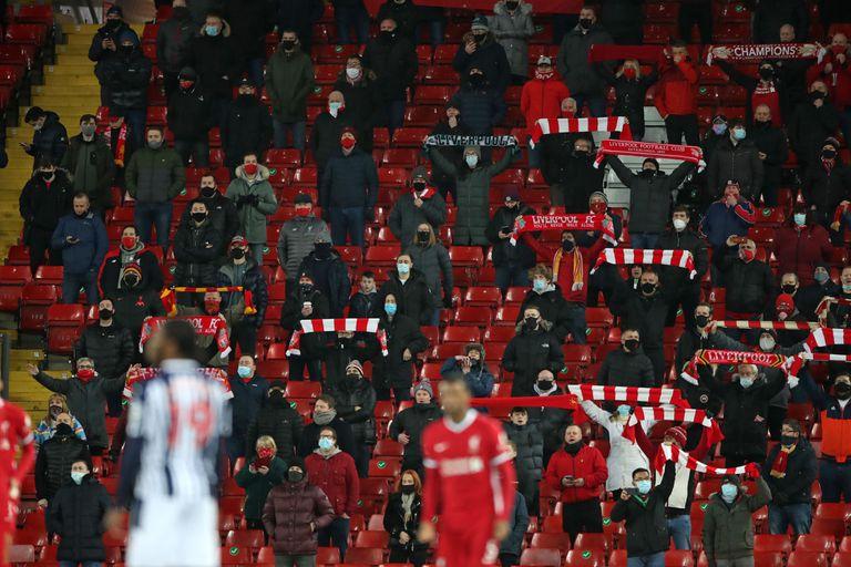Aficionados del Liverpool en las gradas de Anfield el pasado 27 de diciembre.