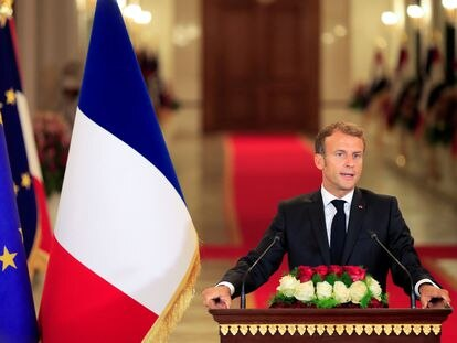 El presidente francés, Emmanuel Macron, este sábado en Bagdad