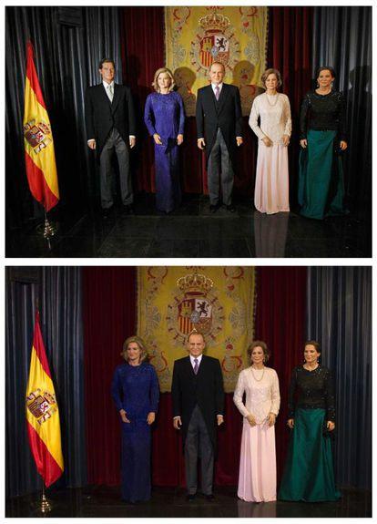 En la imagen de arriba, la ubicación anterior de la figura de Iñaki Urdangarin en el Museo de Cera de Madrid. Abajo, la Familia Real ya sin el deportista.