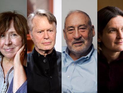 De izquierda a derecha, los premios Nobel Svetlana Alexiévich, Jean-Marie Gustave Le Clézio, Joseph Stiglitz y Esther Duflo.