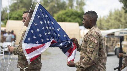 Soldados estadounidenses en la base de Manda Bay en Kenia, en agosto.