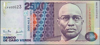 Billete de Cabo Verde con la imagen de Cabral.