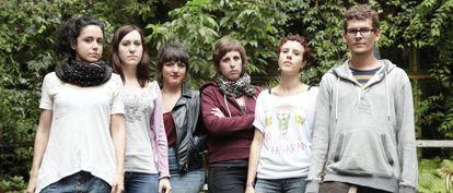 Miembros de la red feminista Federica Montseny posan en Berlín la semana pasada.
