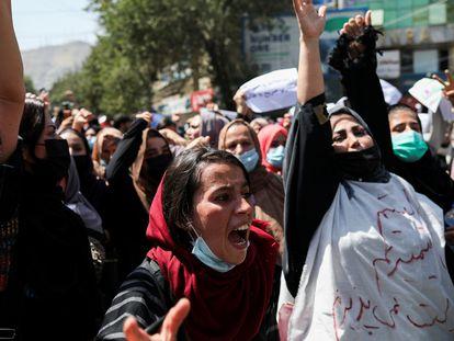 Manifestación de mujeres en Kabul, el pasado 7 de septiembre.