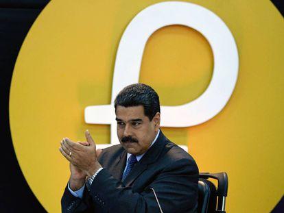 Maduro, el pasado febrero en el acto de anuncio de la nueva moneda virtual