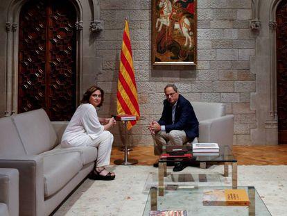 Ada Colau y Quim Torra en el Palau de la Generalitat.