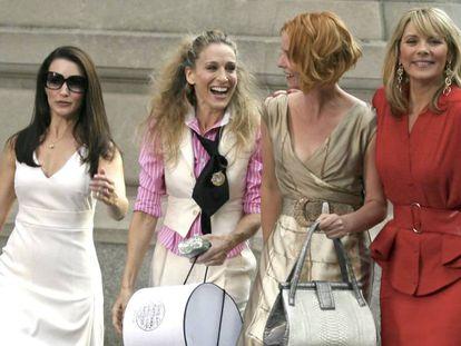 Las actrices protagonistas de 'Sexo en Nueva York', durante el rodaje de la película basada en la serie, en septiembre de 2007.