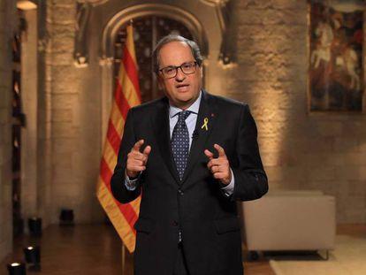 El presidente catalán Quim Torra durante el mensaje institucional. En vídeo, declaraciones de Torra.