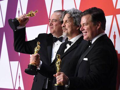 Los creadores de 'Green Book', vencedora del premio a Mejor Película: Nick Vallelonga, Peter Farrelly y Brian Currie