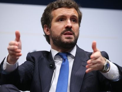 El líder del PP, Pablo Casado, este martes en las jornadas del IV Congreso Iberoamericano en Madrid.