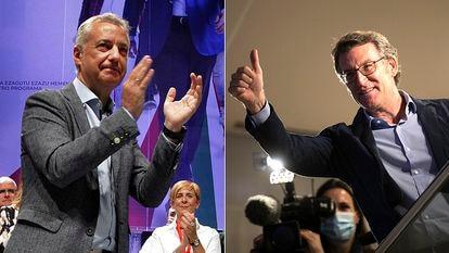 Urkullu y Feijóo, este domingo tras los resultados electorales. J. HERNÁNDEZ / ÓSCAR CORRAL