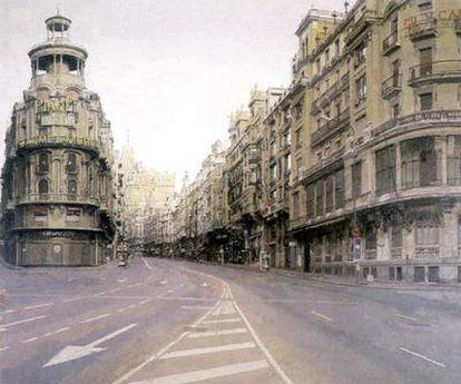 La Gran Vía, una de sus obras más conocidas, pintada en las madrugadas durante los veranos de 1975 y 1980.