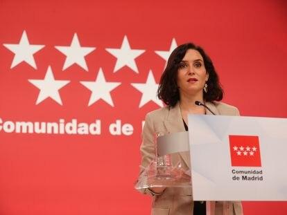Isabel Díaz Ayuso, este miércoles en la Real Casa de Correos, sede del Gobierno de la Comunidad de Madrid.