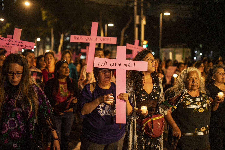 Marcha de mujeres en la Ciudad de México contra la violencia machista el, 25 de Noviembre de 2019.