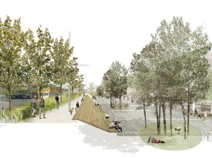 Imagen orientativa de la ampliación de la acera y el futuro espacio público delante del mercado de la Vall d'Hebron.