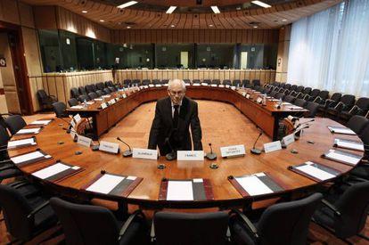 Herman Van Rompuy, en la sala de reuniones del Consejo.
