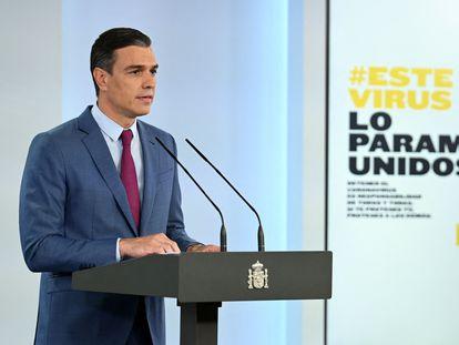 Pedro Sánchez, durante su comparecencia en La Moncloa, el sábado.