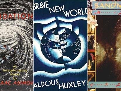 Portadas de las primeras ediciones de 'Fundación', 'Un mundo feliz' y 'The Sandman'.