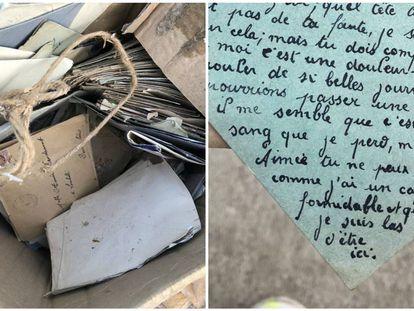 Algunas de las cartas halladas en un vertedero, en una imagen de Twitter.