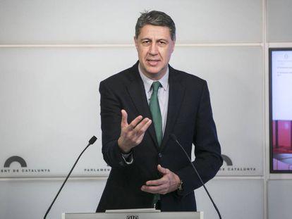 Xavier García Albiol, en una rueda de prensa en el Parlament.