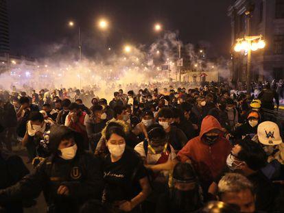 Imagen de las protestas en el centro del Lima en noviembre de 2020.