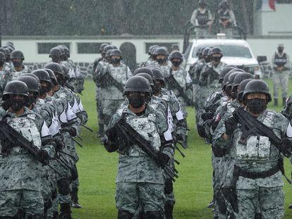 Integrantes de la Guardia Nacional en Ciudad de México, el 29 de junio.