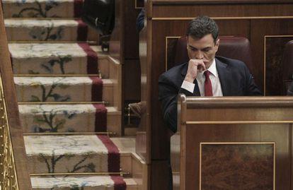El líder del PSOE, Pedro Sánchez, en el Congreso.