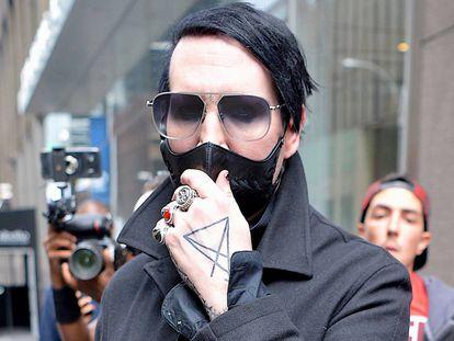 El cantante Marilyn Manson en Nueva York este martes