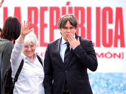 Antoni Comín, Clara Ponsatí y Carles Puigdemont, el pasado mes de marzo.