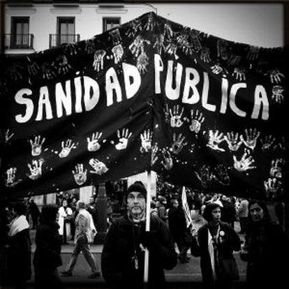 Una de las protestas de este año en Madrid contra la privatización sanitaria.
